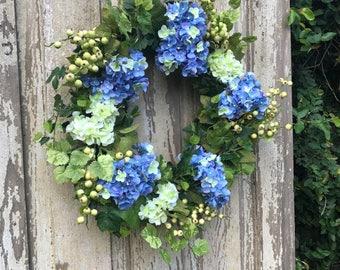 Year round wreath,Blue Hydrangea Wreath,Spring Wreath,Double Door Wreath,Hydrangea Wreath,Front Door Wreath,Double Door Wreath,Summer wreath