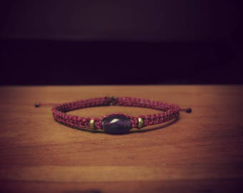 Brass beads and cherry and Amethyst macrame bracelet