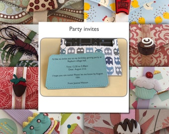 Party invite envelopes with blank insert | personalised | hundreds of themes | games | party | animals | food | drink | adults | invitation