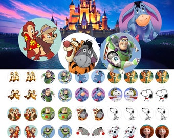 Disney 12 mm - 1/2 inch or 12 mm Images 4x6 Digital Collage INSTANT DOWNLOAD