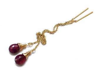 Ruby Earrings, Gold / Sterling Silver Threader Earrings, Long Chain Earrings, July Birthstone, Wire Wrapped Ruby Gemstone Thread Earrings