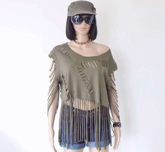 Original women's T-Shirt! SOLDIERGIRL! COTTON colour khaki size L / Large belicious delicious creation 69cm long