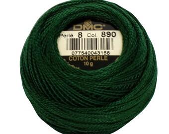 DMC 890 Perle Cotton Thread | Size 8 | Ultra Dark Pistachio Green
