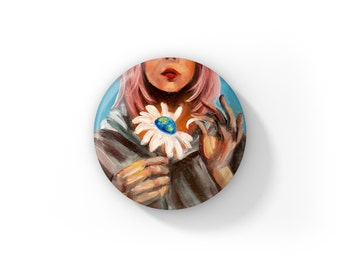 """It Loves Me, It Loves Me Not Oil Painting by Jess Kristen Button Pins or Magnets 1"""""""
