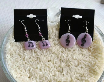 Pink Music Earrings-Pink Fused Glass Music Earrings-Pink Earrings-Fused Glass Earrings