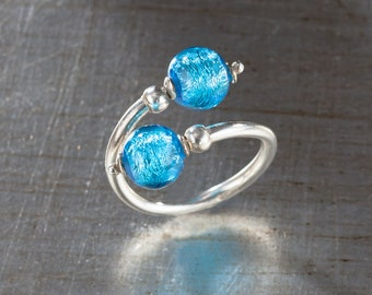 Lorena's Murano Glass Adjustable Ring In Blue, Green and Purple Accented With Sterling Silver
