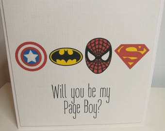 Will you be my Page Boy Superhero Card