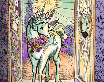 "Unicorn Journey - ""Interior Castle"" Print 8.5x11 Archival Artist Print"