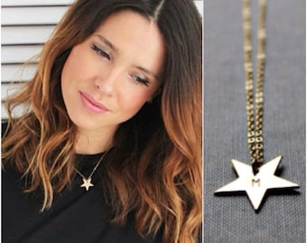 Initial necklaces celebrity style jewelry by bijouxbydesif on etsy star gold necklace celebrity style 14k goldfilled aloadofball Images