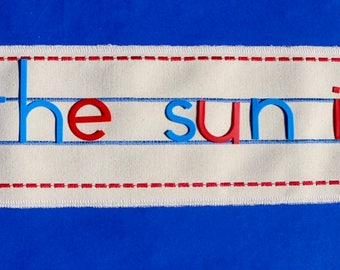 """Embroidered Sentence Activity Sheet for use with 3"""" Movable Alphabet"""