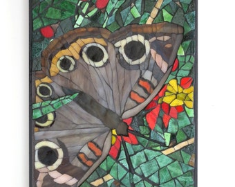 Butterfly Wall Art, Glass Mosaic of a Mangrove Buckeye, Artisan Handcrafted from Stained Glass and Smalti, Title- Silent Beauty