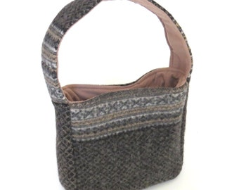 Fire Sale! FELTED GRAY WOOL Shoulder Bag / Fair Isle Design (Ooak) From Upcycled Gray & Tan Wool sweater / Eco Friendly Gift
