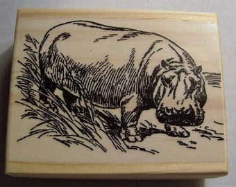 Hippo New Mounted Rubber Stamp