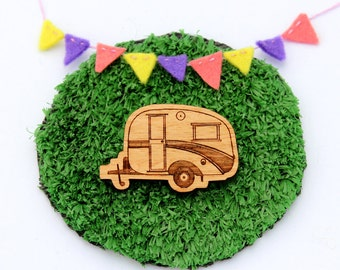 Laser cut wood brooch, Cosy, cute vintage caravan, natural wooden finish