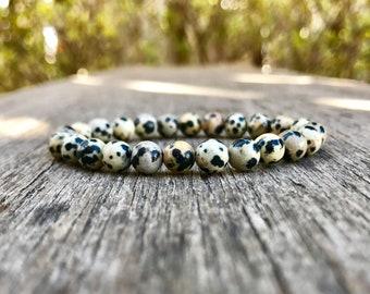 Dainty Dalmation Jasper Bracelet Handmade 6mm Dalmatine Beaded Gemstone Bracelet Dalmation Stone Stack Bracelet Unisex Gift Bracelet