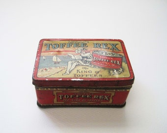 Early Lovell's Toffee Tin, Rex Art Deco/Nouveau Tin Box, Sailboat, King of Toffees, Small Red Tin Box, Storage Container, Kitchen, Office