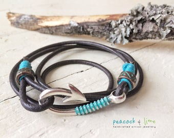 men's/boy youth fish hook clasp bracelet //unisex rugged leather strap wrap // hook, line and sinker // handmade mens surf jewelry//anklet