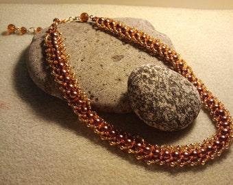 Autumn, Flat Spiral Necklace