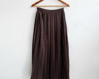 VINTAGE 1980s Pleated Maxi Skirt/ scarpa 80s