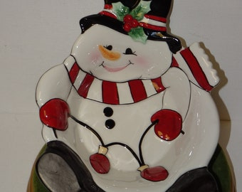 Vintage Fitz & Floyd Snowman Trivet, Candy Dish, Christmas Decor, Frosty the Snowman, Red and White Scarf, Dish
