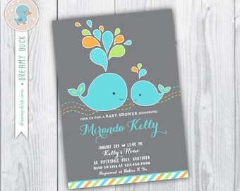 Baby Shower Whale Invitation / Whale Baby Shower Invitation / Whale Baby Shower Invite / Under the sea baby shower / Whale Invitation