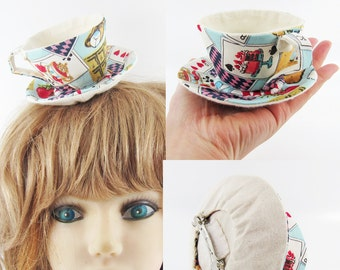 MADE-TO-ORDER ( 1 - 2 Weeks) Textile Teacup Fascinator (Hair Clip) -Cards & Alice tea party in Blue *Please allow for slight variances.