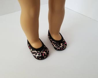 "Leopard ballet flats for 18"" Doll, dress shoes"