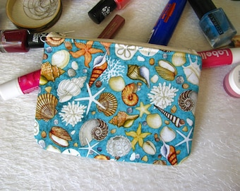 Zippered pouch with sea shells, makeup bag, phone case, purse