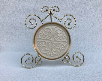 Lenox Decorative Plate with Raised Scroll and Gold Border