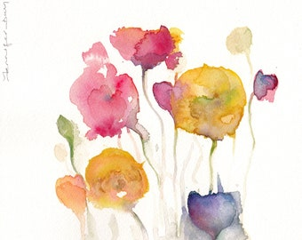 Poppies flowers original abstract watercolour painting . Hand signed. 20cm x 20cm