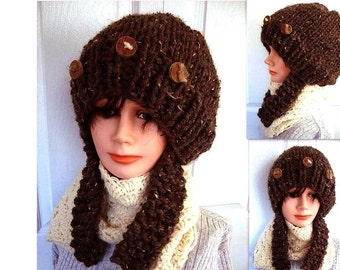 knitting pattern hat, Chunky hat with long ear flaps, age 5 to adult, num 510, INSTANT DOWNLOAD