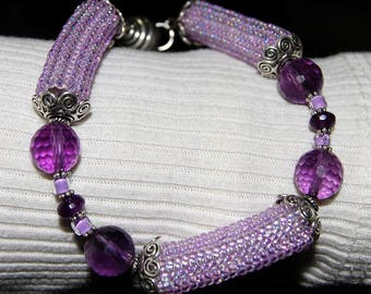 Amethyst Bracelet with Sterling & Lavender Beadwoven Tubes