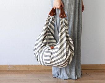 SALES Stripe canvas hobo bag, slouchy large shoulder bag overnight weekend bag cotton purse - Kallia bag