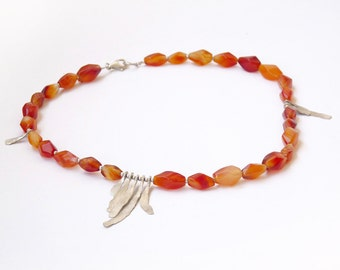 Earth Carnelian and Silver Necklace , red necklace .