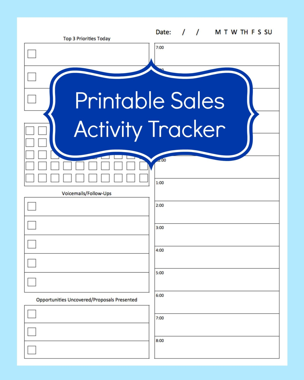 Sales Activity Tracker Daily Planner Cold Call Tracker