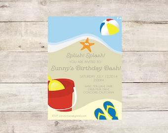 Beach party invite Etsy