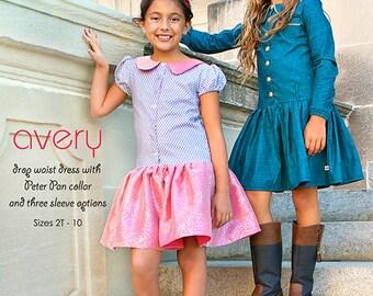 Mod Kid Boutique Sewing ModKid Paper Pattern AVERY Dress Peter Pan Collar Drop Waist 2T-10