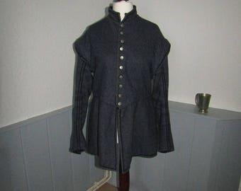 Mens small Medieval Tudor Elizabethan Theatrical Grey Doublet Costume LARP