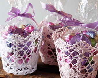 Easter basket. lace Easter basket. lace pot. lace nursery accessory. lace hold all for baby , stationery , scissors and pen holder.