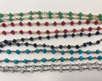 4mm gemstone beaded chain, delicate chain, 1 FOOT