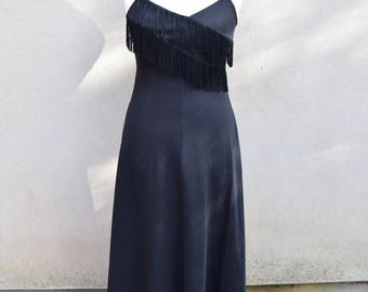 Vintage black maxi dress with fringe, 1960s