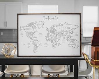 45x30 World Travel Map White Edition
