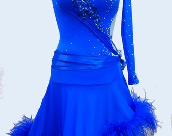 Blue  Dance  Dress with Feathers   Blue Dancing  Dresses
