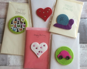 Cards - Birthday - Blank - Congratulations - Wool Felt Motifs