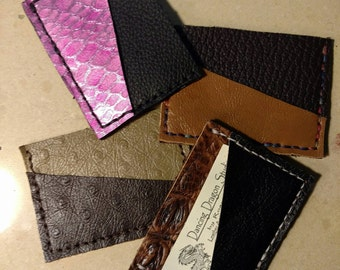 3 Pocket Leather Scrap Mini Wallet - Recycled and Handcrafted