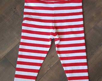 Handmade baby girl leggings - red and white stripes - ONE OF A Kind - baby apparel - size 6 months