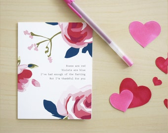 Funny Love / Valentine's Day Card. Fart Poem #041