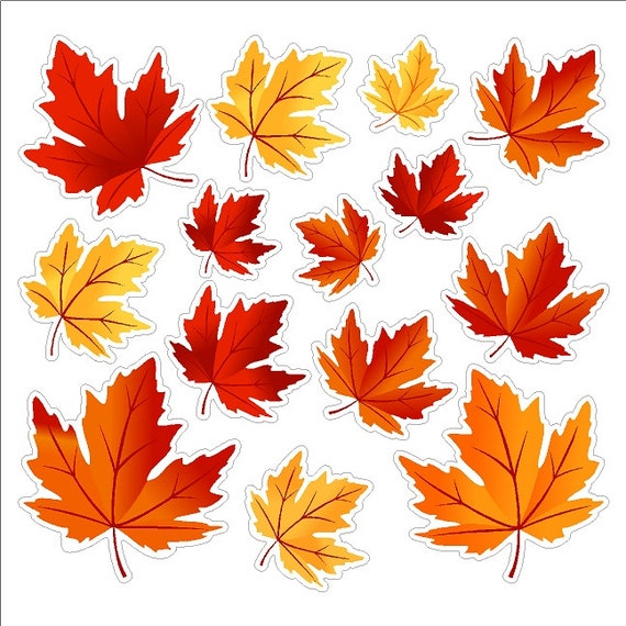 Autumn leaves autumn window decals removable and reusable