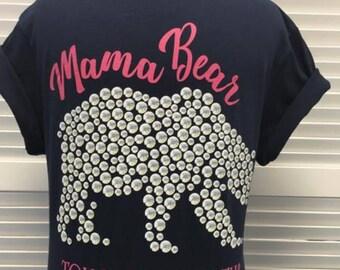 Mama Bear, Navy, Short Sleeve.