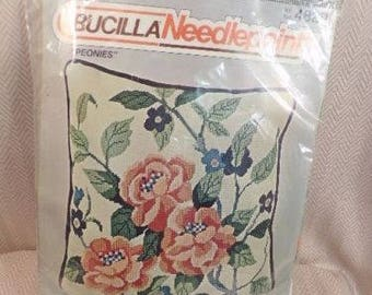 Vintage Neddlepoint Handpainted BUCILLA Peonies Pillow kit
